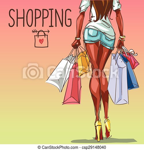 Young woman with shopping bags, background with space for text - csp29148040