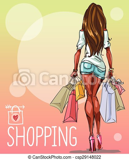 Young woman with shopping bags, background with space for text - csp29148022