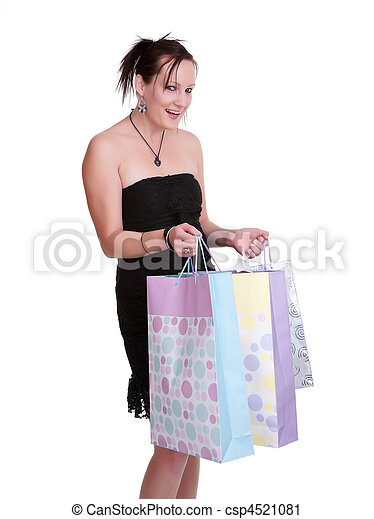 young woman with shopping bags on white - csp4521081