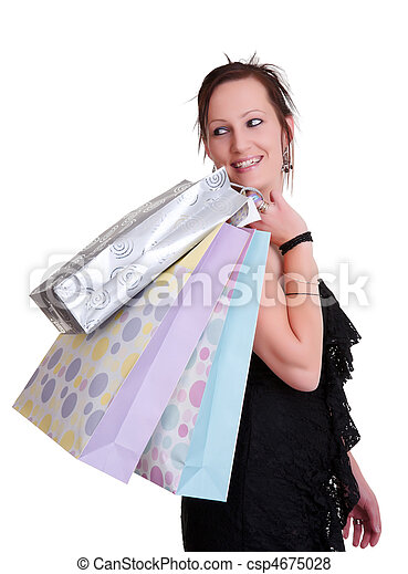 young woman with shopping bags on white - csp4675028