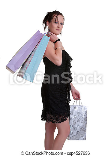 young woman with shopping bags on white - csp4527636
