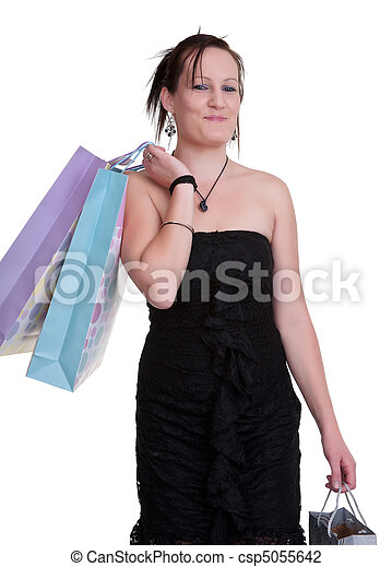young woman with shopping bags on white - csp5055642