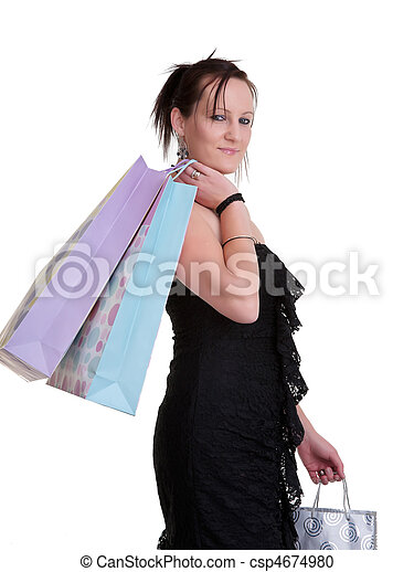 young woman with shopping bags on white - csp4674980