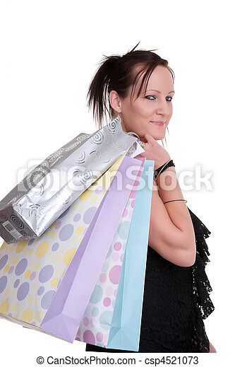 young woman with shopping bags on white - csp4521073
