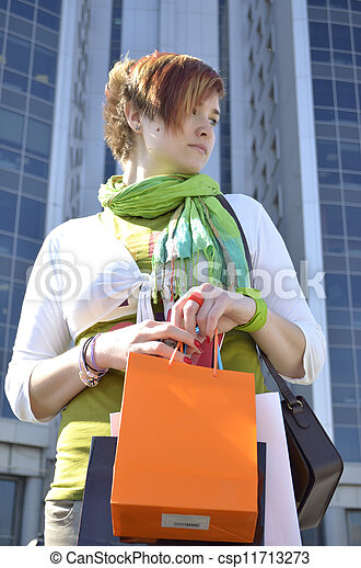 Young woman with shopping - csp11713273