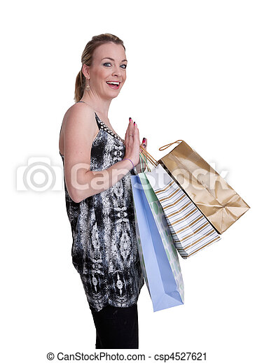 young woman with shopping - csp4527621