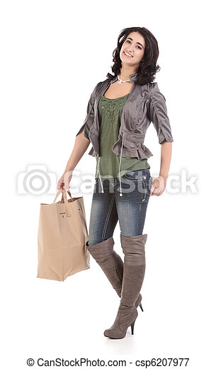 young woman with shopping - csp6207977