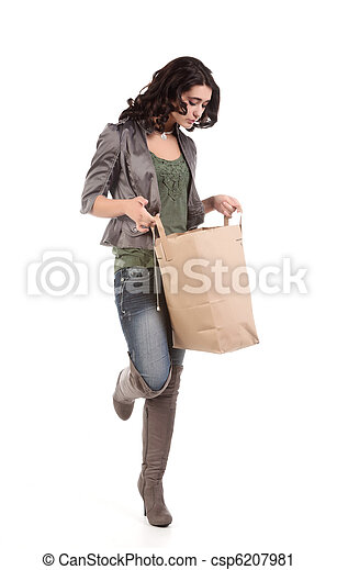 young woman with shopping - csp6207981