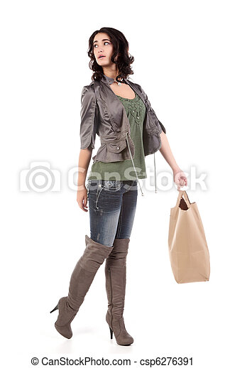 young woman with shopping - csp6276391