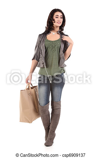 young woman with shopping - csp6909137