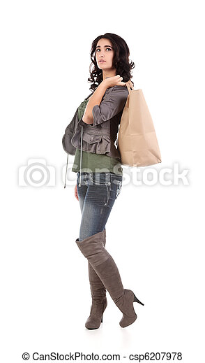 young woman with shopping - csp6207978