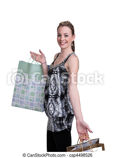 young woman with shopping - csp4498526