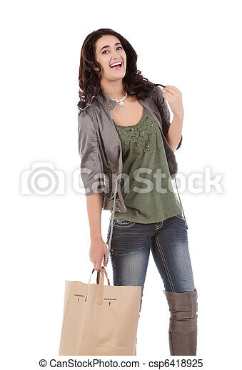 young woman with shopping - csp6418925