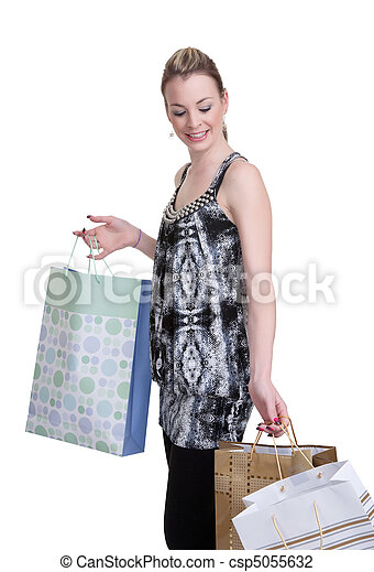 young woman with shopping - csp5055632