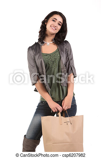 young woman with shopping - csp6207982