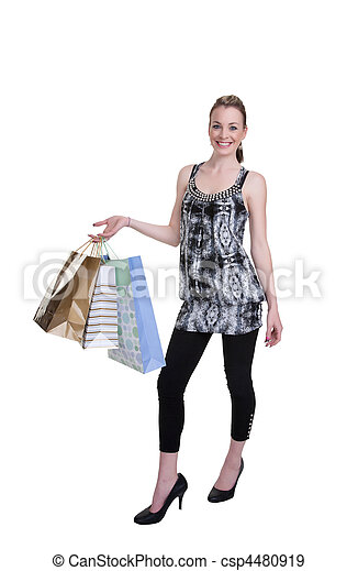 young woman with shopping - csp4480919