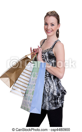 young woman with shopping - csp4480900