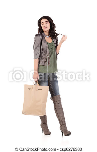 young woman with shopping - csp6276380