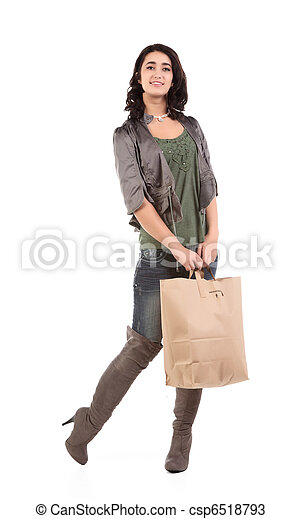 young woman with shopping - csp6518793