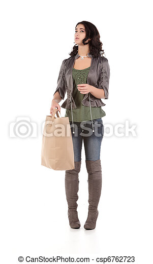 young woman with shopping - csp6762723