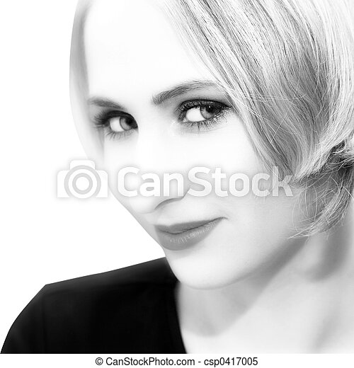 young woman with short hair - csp0417005