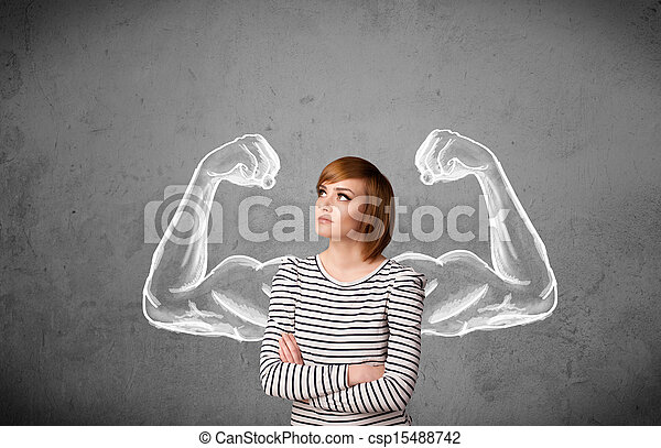 Young woman with strong muscled arms - csp15488742