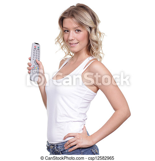 Young woman with TV remote control - csp12582965