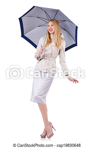 Young woman with umbrella on white - csp19830648