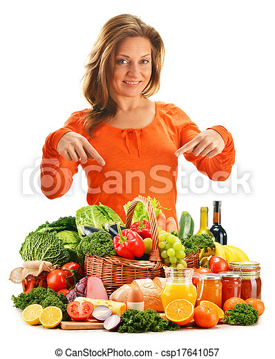 Young woman with variety of grocery products isolated on white - csp17641057