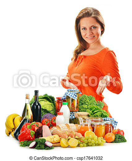 Young woman with variety of grocery products isolated on white - csp17641032