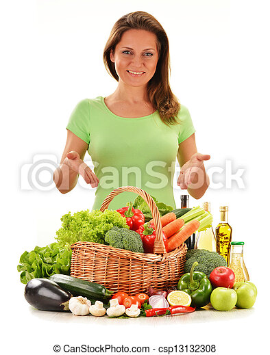 Young woman with variety of vegetables isolated on white - csp13132308