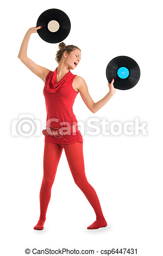 Young woman with vinyl records - csp6447431