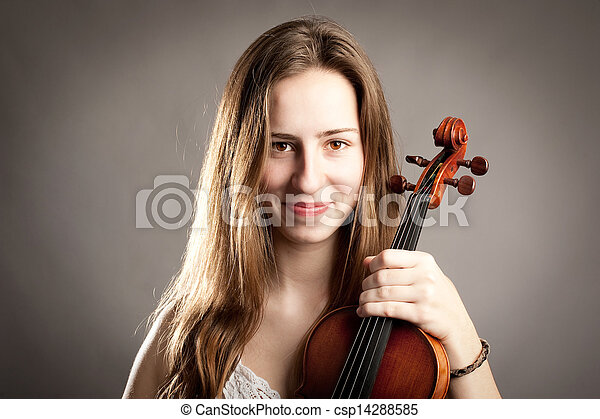 young woman with violin - csp14288585