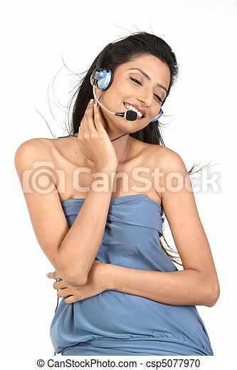 young woman working in  call center - csp5077970