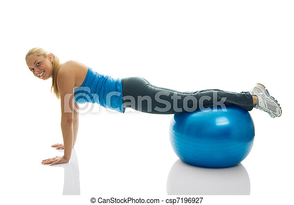 Young women doing pushups on fitness ball - csp7196927