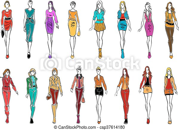 1484034ff419d Young women in elegant clothes for everyday style. Colorful sketch ...