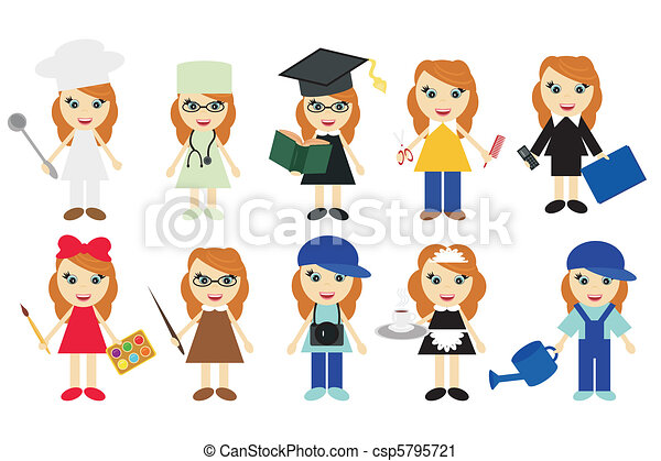 Young Women Of Ten Different Jobs On White Background