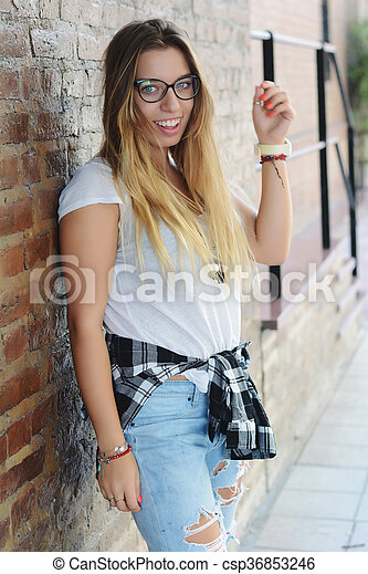 Young women posing outdoors - csp36853246