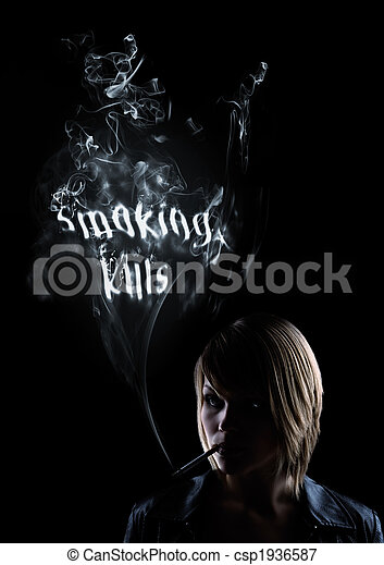 young women smokes and in the smoke appears  - csp1936587