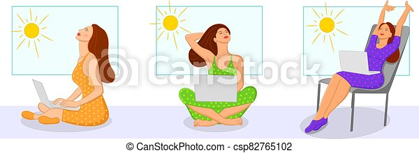 Young women taking in the Sunshine from a window while working on a laptop during stay at home quarantine due to Corona Virus - csp82765102