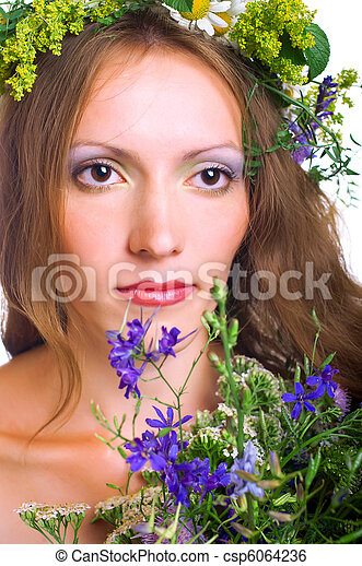 young women with flowers - csp6064236