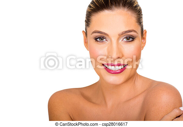 youngblond woman with healthy skin - csp28016617
