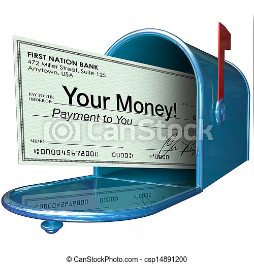 Your Money Check Payment in Mailbox - csp14891200