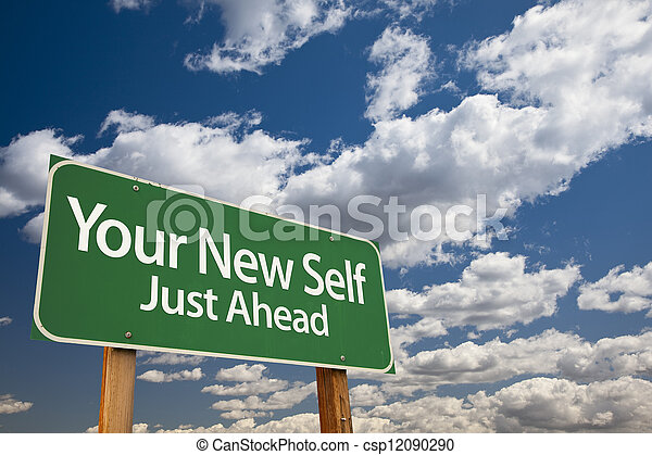 Your New Self Green Road Sign - csp12090290