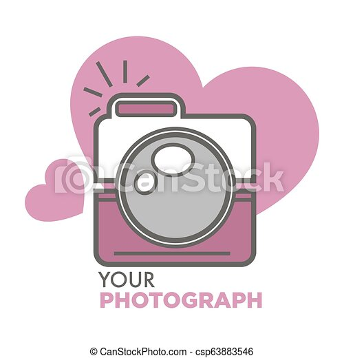 Your photograph old school photo camera with hearts - csp63883546