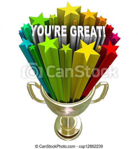 You're Great - Words of Praise in Winner Trophy - csp12862239