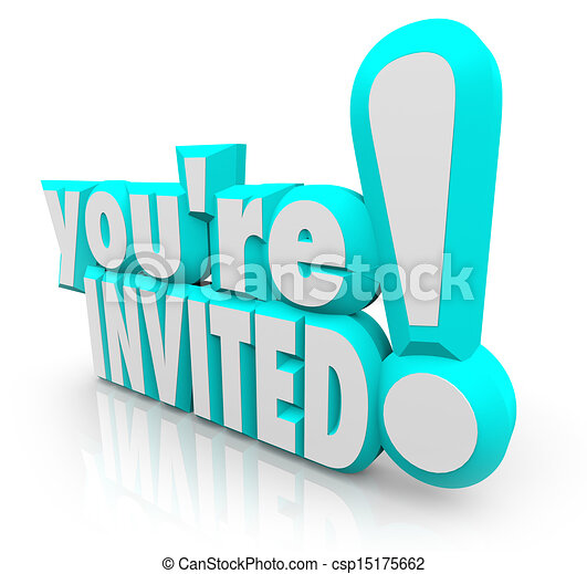 Stock Illustration of Youre Invited 3D Words Invitation Party – Words of Invitation