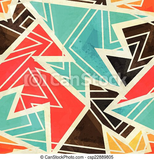 youth geometric seamless pattern with grunge effect - csp22889805