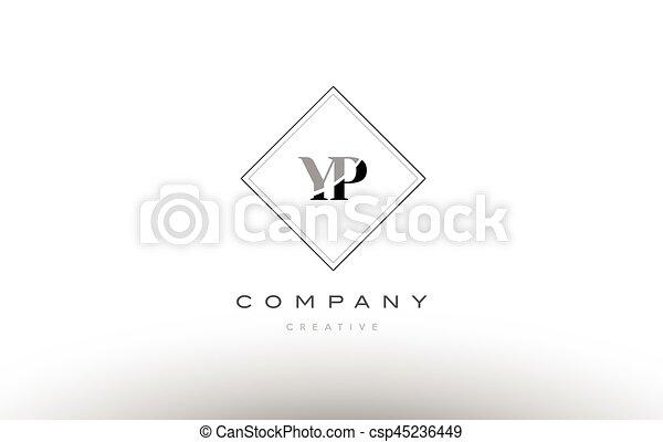 Yp Y P Retro Vintage Black White Alphabet Letter Logo Yp Y P