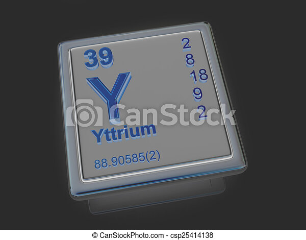 Yttrium Chemical Element 3d Drawings Search Clipart